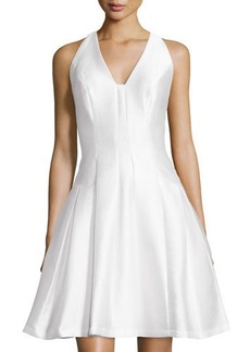 Carmen Marc Valvo Piqué V-Neck Sleeveless Cocktail Dress