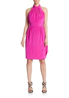 Carmen Marc Valvo Pleated Halterneck Dress