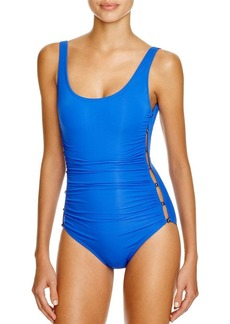 Carmen Marc Valvo Ruched One Piece Swimsuit