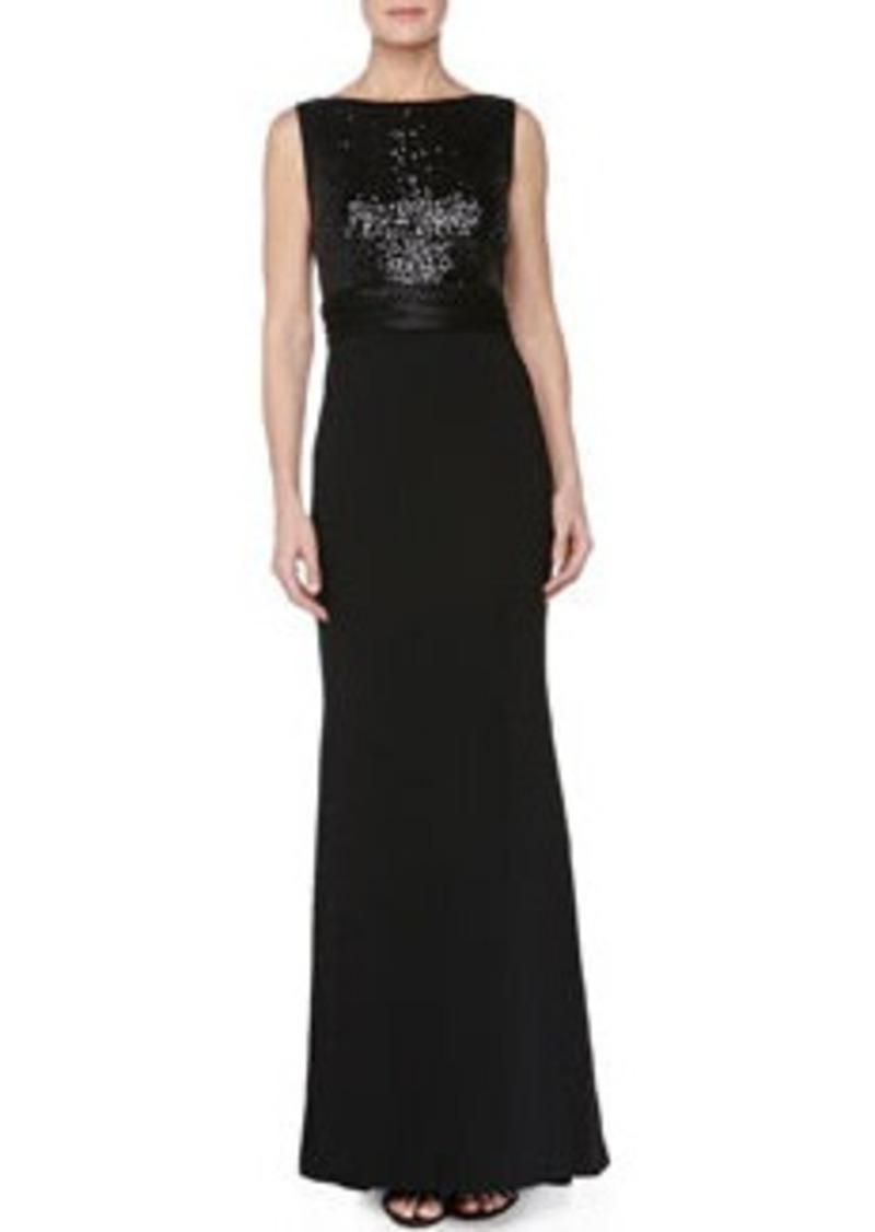 Carmen Marc Valvo Sequin-Bodice Crepe-Skirt Gown, Black