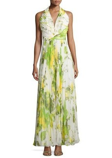 Carmen Marc Valvo Sleeveless Accordion-Pleated Halter Gown