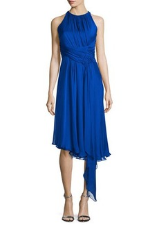 Carmen Marc Valvo Sleeveless Asymmetric Cocktail Dress  Sleeveless Asymmetric Cocktail Dress