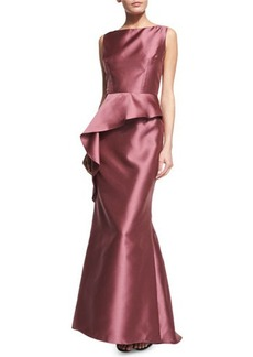 Carmen Marc Valvo Sleeveless Asymmetric-Peplum Gown