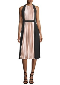 Carmen Marc Valvo Sleeveless Colorblock Pleated Cocktail Dress  Sleeveless Colorblock Pleated Cocktail Dress