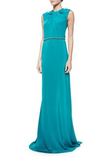Carmen Marc Valvo Sleeveless Embellished-Waist Gown