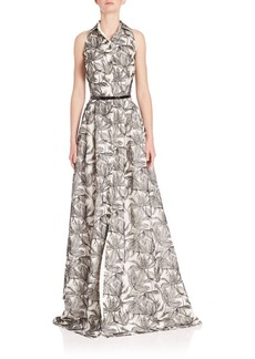 Carmen Marc Valvo Sleeveless Floral Print Gown