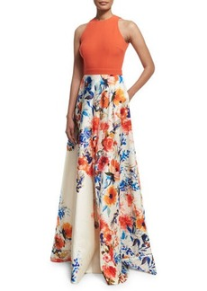 Carmen Marc Valvo Sleeveless Halter-Neck Combo Gown