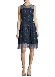 Carmen Marc Valvo Sleeveless Lace Fit & Flare Cocktail Dress