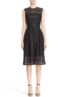 Carmen Marc Valvo Sleeveless Lace Organza Fit & Flare Dress