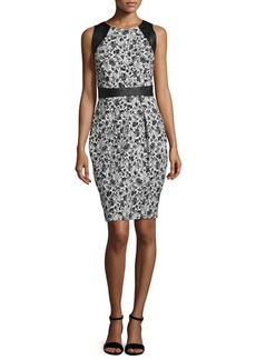 Carmen Marc Valvo Sleeveless Leather-Trim Floral Cocktail Dress  Sleeveless Leather-Trim Floral Cocktail Dress