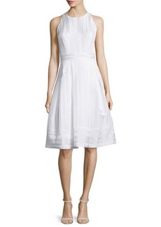 Carmen Marc Valvo Sleeveless Pleated Fit & Flare Dress