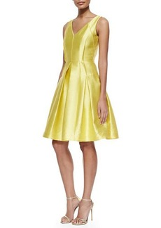 Carmen Marc Valvo Sleeveless Pleated Textured Party Dress  Sleeveless Pleated Textured Party Dress