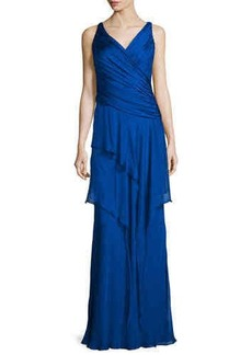Carmen Marc Valvo Sleeveless Ruffle-Front Column Gown  Sleeveless Ruffle-Front Column Gown