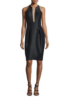 Carmen Marc Valvo Sleeveless Shimmery Deep-Illusion Cocktail Dress  Sleeveless Shimmery Deep-Illusion Cocktail Dress