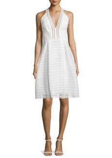 Carmen Marc Valvo Sleeveless Textured-Mesh A-Line Dress