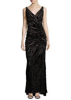 Carmen Marc Valvo Sleeveless V-Neck Burnout Gown