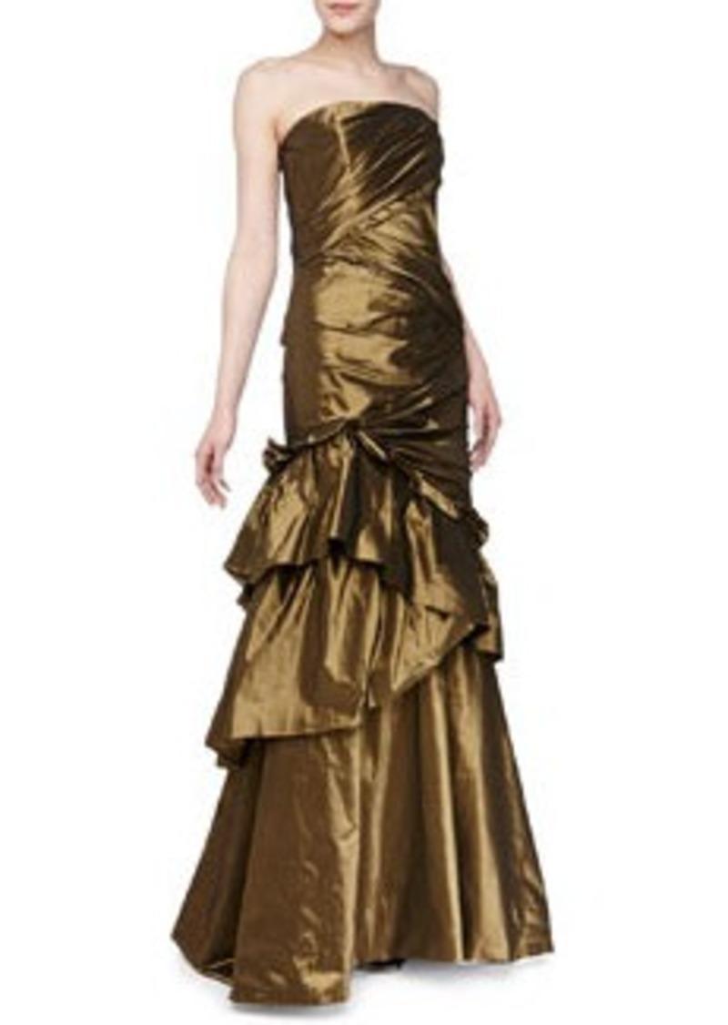 Carmen Marc Valvo Strapless Asymmetric Taffeta Gown, Burnished Gold