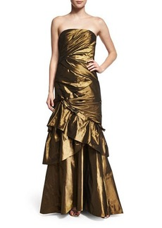 Carmen Marc Valvo Strapless Ruched Evening Gown W/Shawl