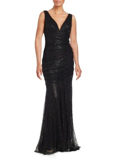 Carmen Marc Valvo V-Neck Embellished Gown