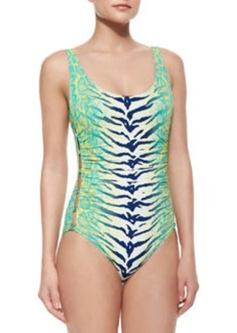 Carmen Marc Valvo Snakeskin-Print Scoop-Neck One-Piece Swimsuit   Snakeskin-Print Scoop-Neck One-Piece Swimsuit