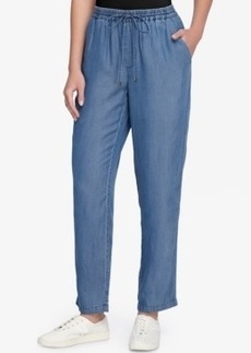 Catherine Catherine Malandrino Ronna Chambray Pull-On Straight-Leg Pants