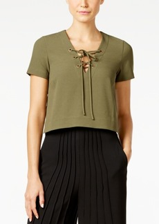 Catherine Malandrino Crepe Lace-Up Top