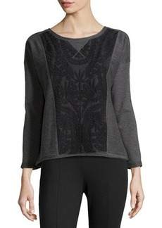 Catherine Malandrino Indigo Lace Panel Sweater