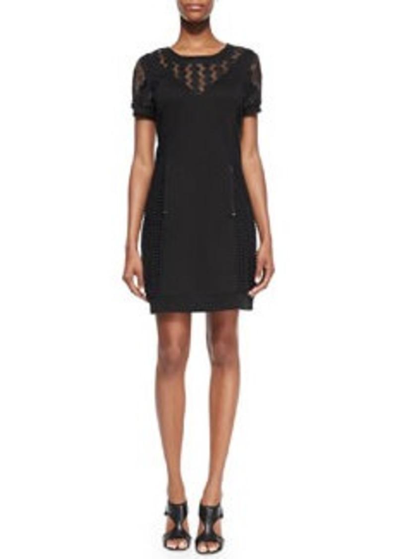 Catherine Malandrino Genie Short-Sleeve Mixed-Pattern Sweatshirt Dress   Genie Short-Sleeve Mixed-Pattern Sweatshirt Dress