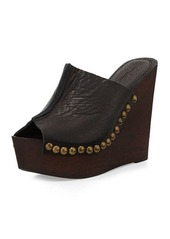 Charles David Recchia Leather Woodgrain Sandal Wedge