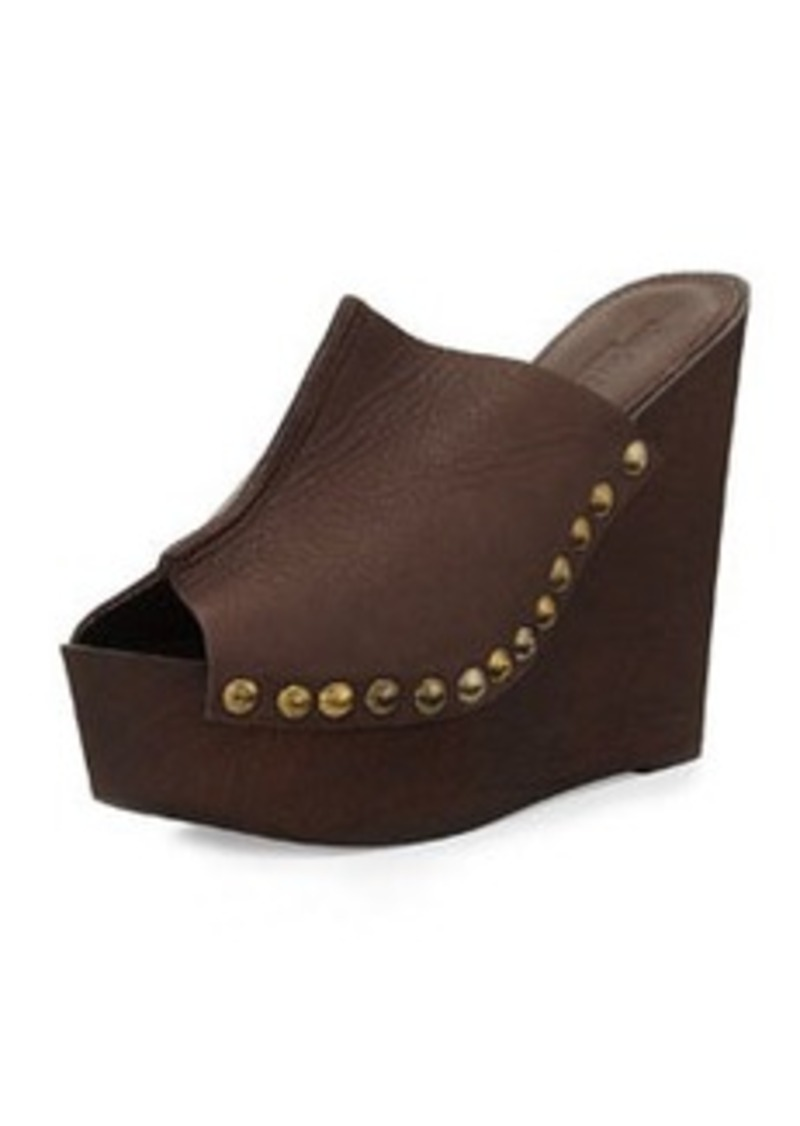 Charles David Recchia Leather Woodgrain Sandal Wedge, Brown