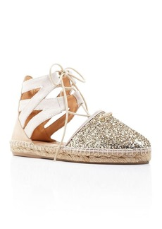 Charles David Sunshine Glitter Lace Up Espadrille Flats