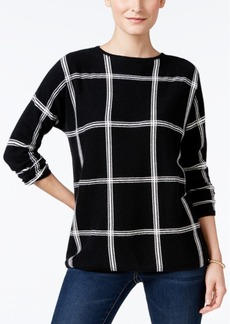Charter Club Cashmere Windowpane-Print Sweater, Only at Macy's