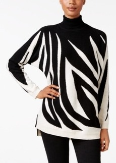 Charter Club Cashmere Zebra-Print Turtleneck Sweater, Only at Macy's