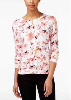 Charter Club Flamingo-Print Cardigan, Only at Macy's