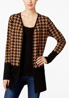 Charter Club Colorblocked Houndstooth Cardigan, Only at Macy's