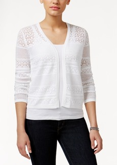 Charter Club Crochet-Striped Open Cardigan, Only at Macy's