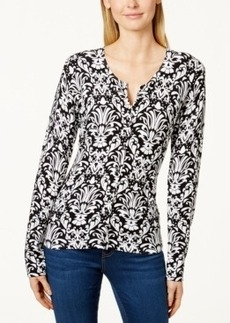 Charter Club Damask-Print Cardigan, Only at Macy's