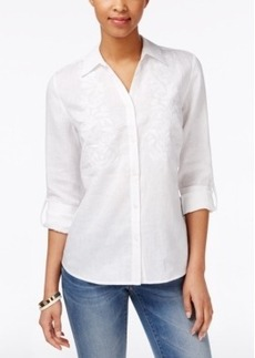 Charter Club Embroidered Beaded Linen Shirt, Only at Macy's