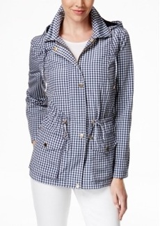 Charter Club Hooded Checker-Print Anorak Jacket, Only at Macy's