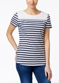 Charter Club Lace-Trim Striped Tee, Only at Macy's