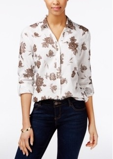 Charter Club Linen Metallic Floral-Print Shirt, Only at Macy's