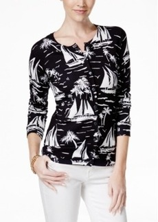 Charter Club Sailboat-Print Cardigan, Only at Macy's