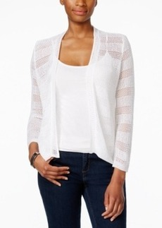 Charter Club Petite Open-Knit Striped Cardigan, Only at Macy's