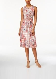 Charter Club Petite Paisley-Print Fit & Flare Belted Dress, Only at Macy's