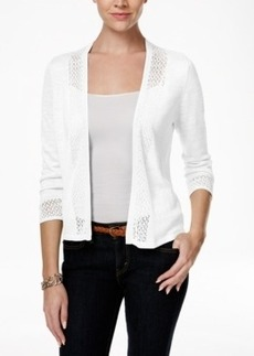 Charter Club Petite Crochet-Detail Cardigan, Only at Macy's