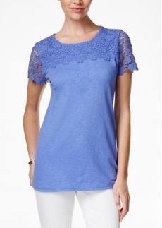 Charter Club Petite Lace-Yoke Top, Only at Macy's