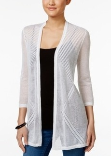 Charter Club Petite Open-Front Pointelle Cardigan, Only at Macy's