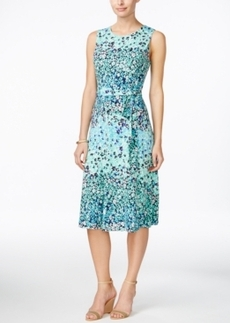 Charter Club Petite Printed Fit & Flare Belted Dress, Only at Macy's