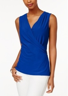 Charter Club Petite Sleeveless Crossover Wrap Top, Only at Macy's