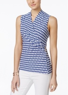Charter Club Petite Sleeveless Printed Crossover Wrap Top, Only at Macy's